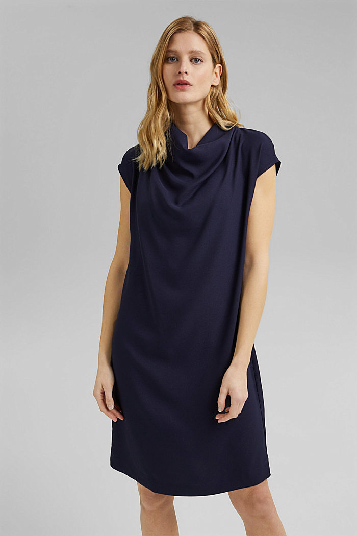 Crêpe dress with a waterfall collar, NAVY, detail image number 0