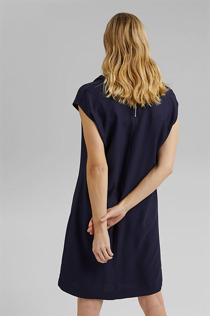 Crêpe dress with a waterfall collar, NAVY, detail image number 2