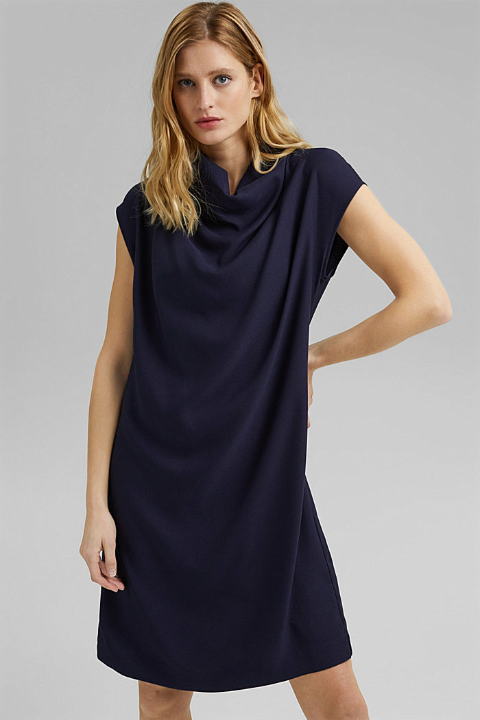 Crêpe dress with a waterfall collar, NAVY, detail image number 5