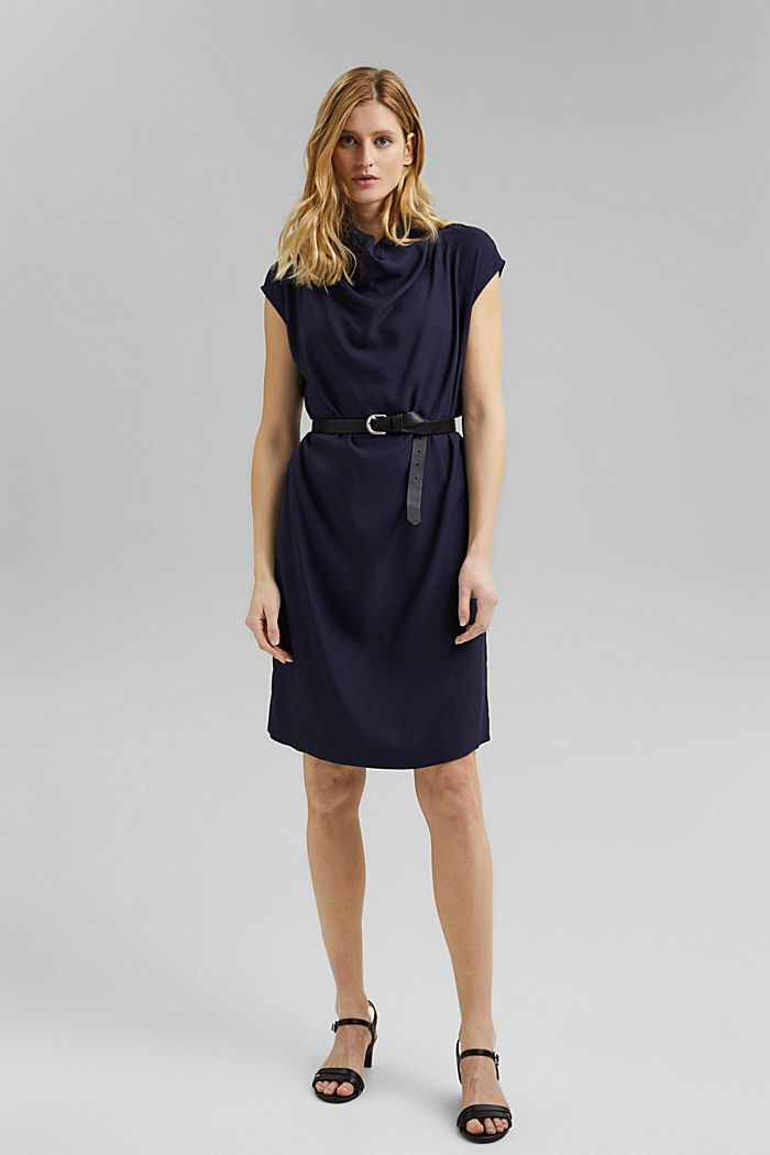 Crêpe dress with a waterfall collar, NAVY, detail image number 1