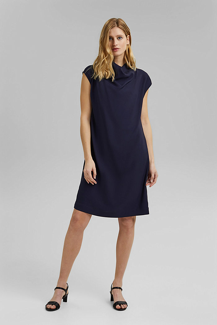 Crêpe dress with a waterfall collar, NAVY, detail image number 8