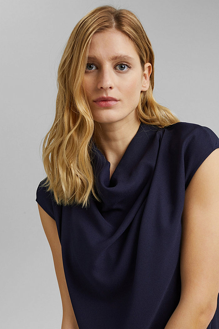 Crêpe dress with a waterfall collar, NAVY, detail image number 7