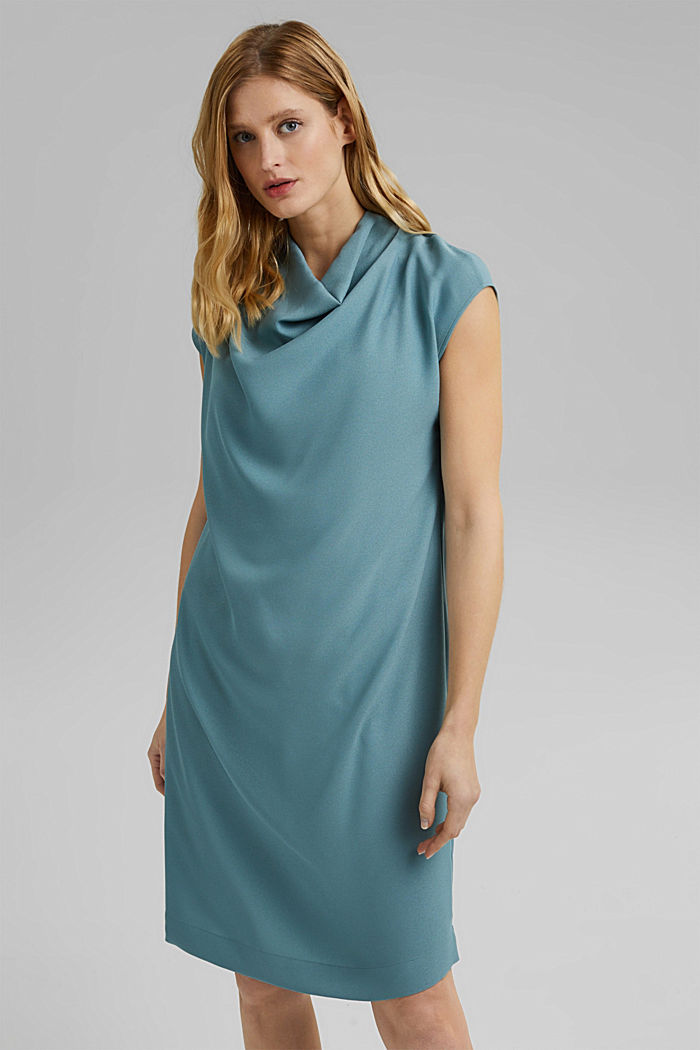 Crêpe dress with a waterfall collar, DARK TURQUOISE, detail image number 0