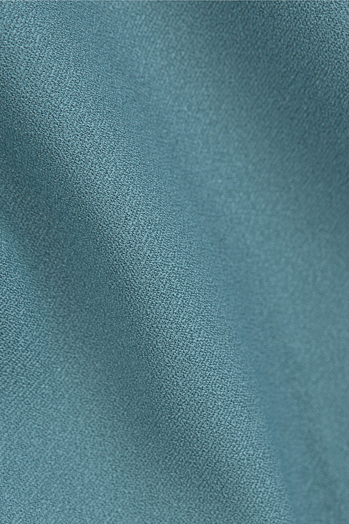 Crêpe dress with a waterfall collar, DARK TURQUOISE, detail image number 4