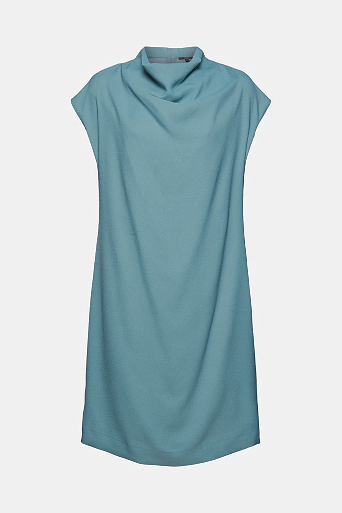 Crêpe dress with a waterfall collar, DARK TURQUOISE, overview