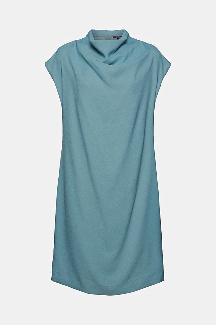 Crêpe dress with a waterfall collar