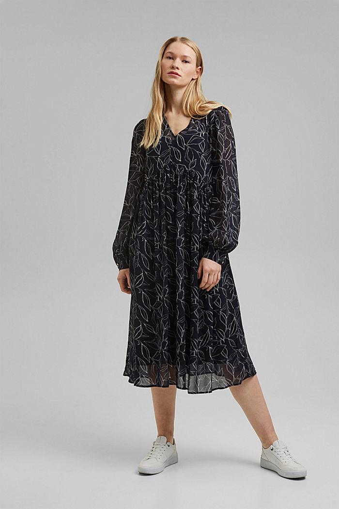 Chiffon dress with a botanical print