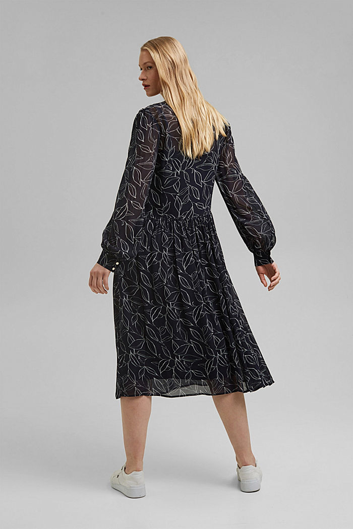 Chiffon dress with a botanical print, NAVY, detail image number 2