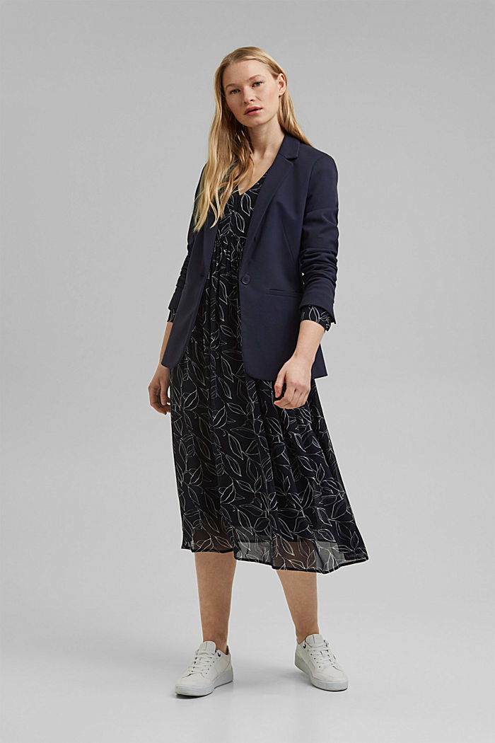 Chiffon dress with a botanical print, NAVY, detail image number 1