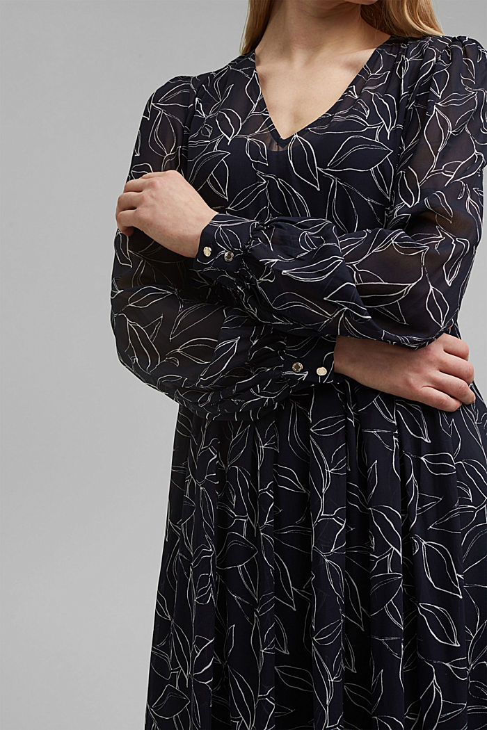 Chiffon dress with a botanical print, NAVY, detail image number 3