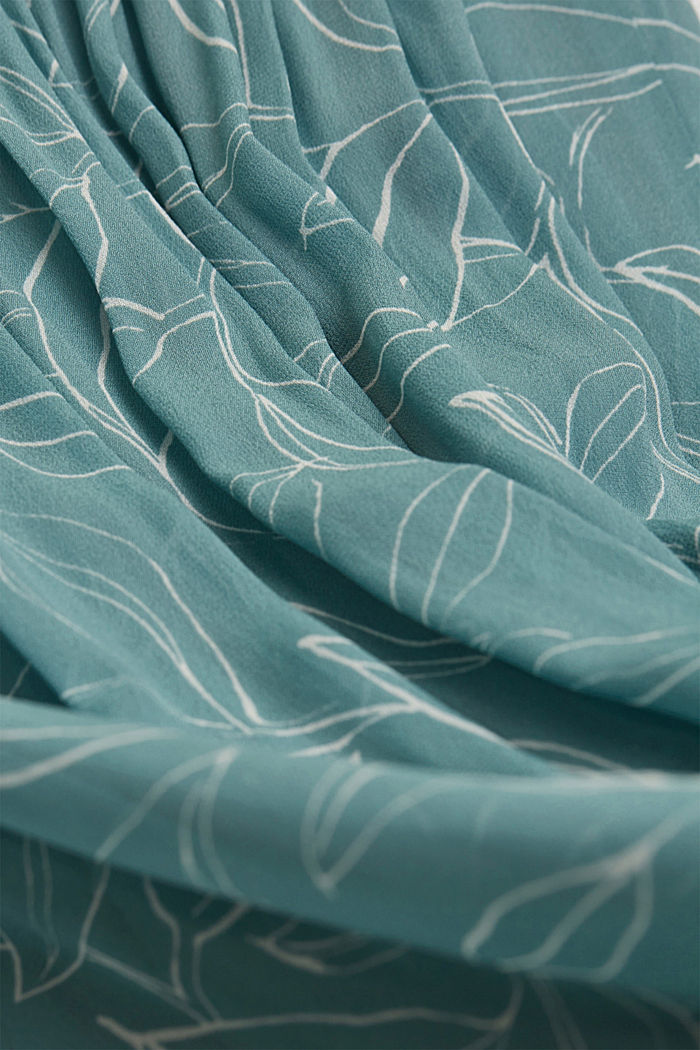 Chiffon jurk met botanische print, DARK TURQUOISE, detail image number 4