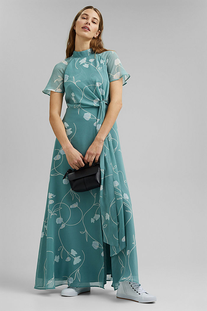 Recycled: Maxi dress with a bow detail, DARK TURQUOISE, detail image number 1