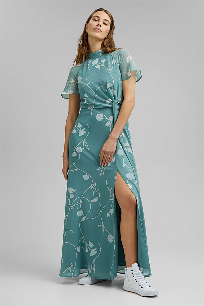 Recycled: Maxi dress with a bow detail, DARK TURQUOISE, detail image number 6