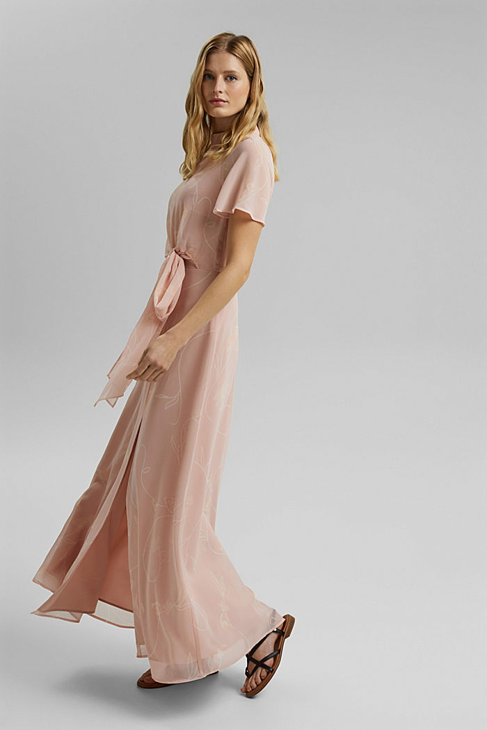 Recycled: Maxi dress with a bow detail, NUDE, detail image number 1