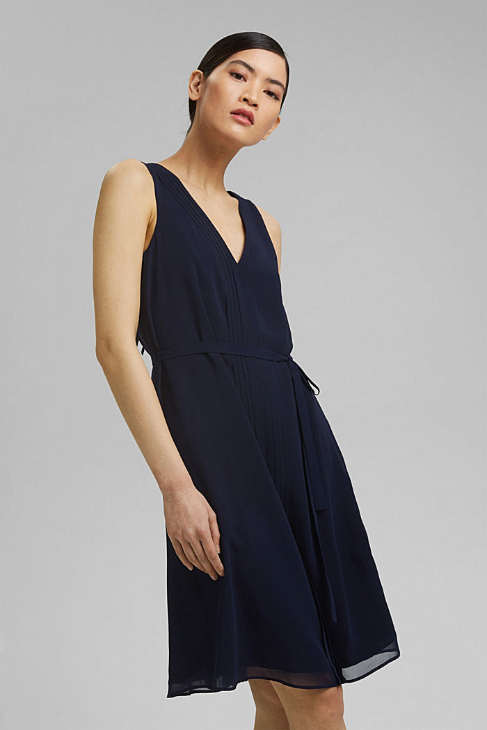 Chiffon dress with pintucks and a belt, NAVY, detail image number 0