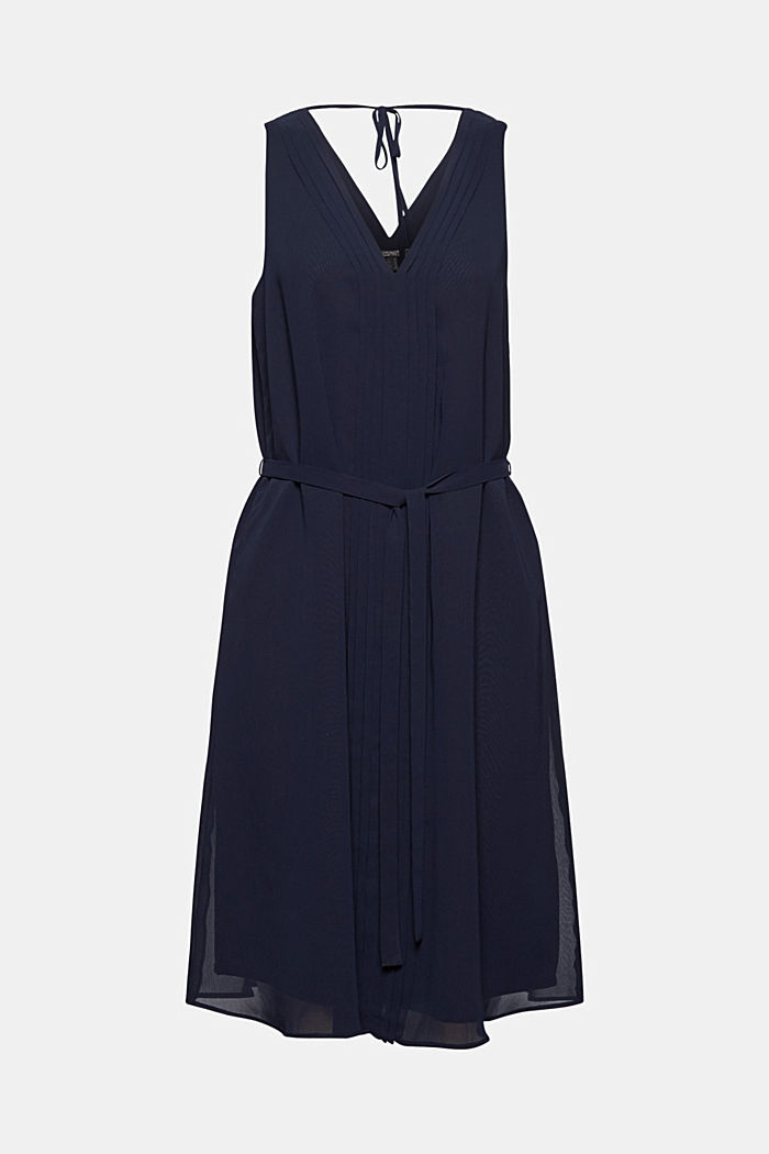 Chiffon dress with pintucks and a belt, NAVY, overview