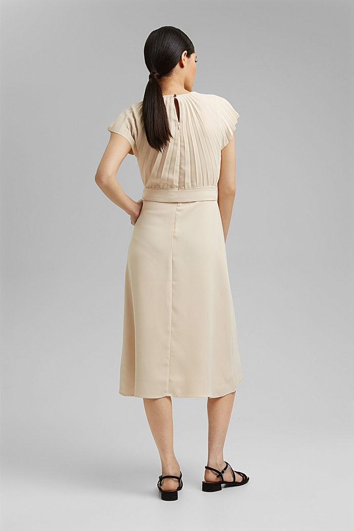 Crêpe dress with a pleated top, CREAM BEIGE, detail image number 2