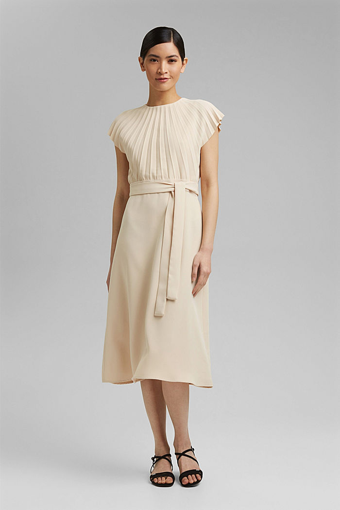 Crêpe dress with a pleated top, CREAM BEIGE, detail image number 1