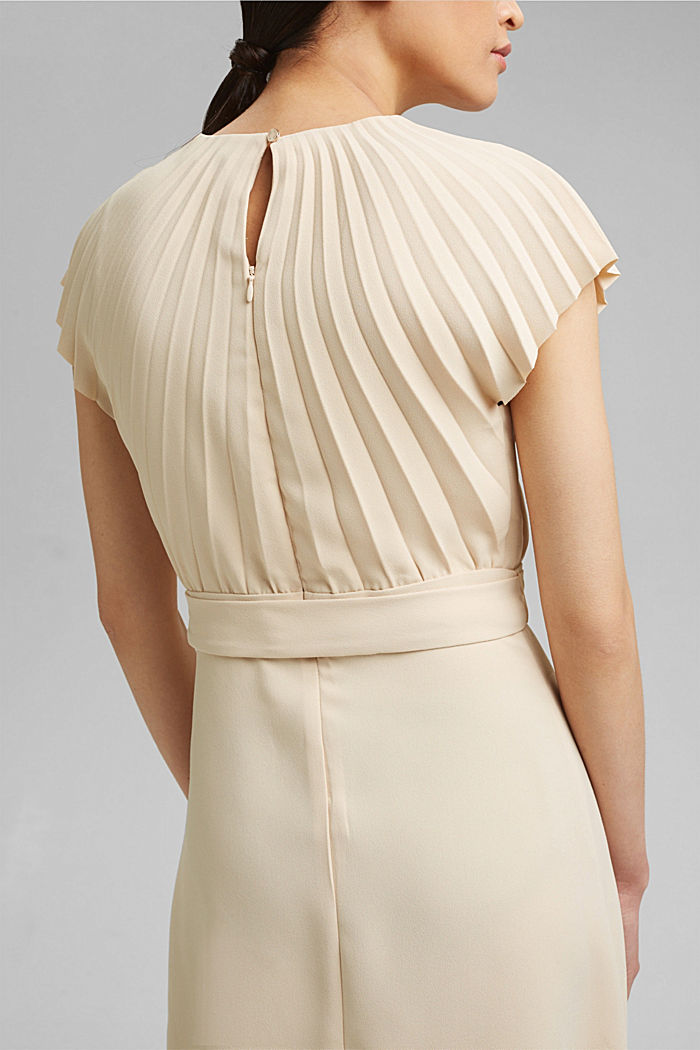 Crêpe dress with a pleated top, CREAM BEIGE, detail image number 3