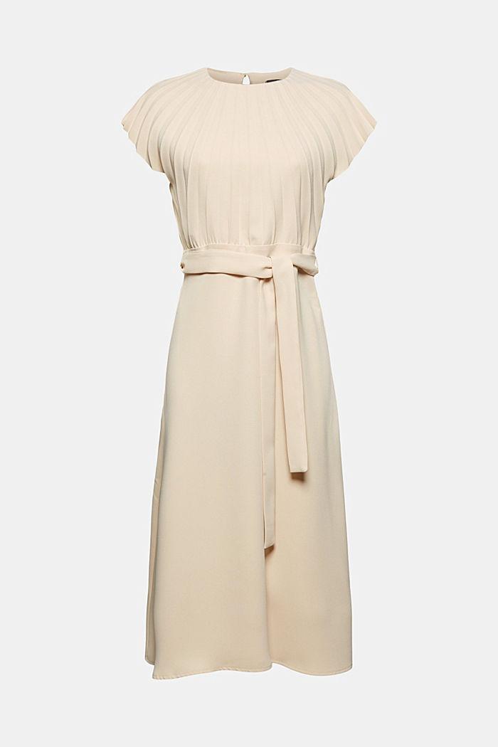 Crêpe-Kleid mit plissiertem Oberteil