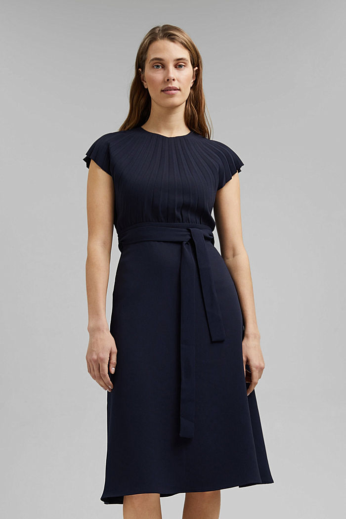 Crêpe dress with a pleated top, NAVY, detail image number 0