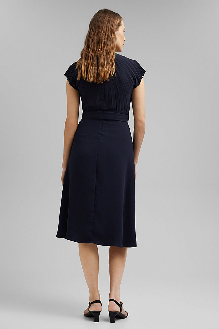 Crêpe dress with a pleated top, NAVY, detail image number 2