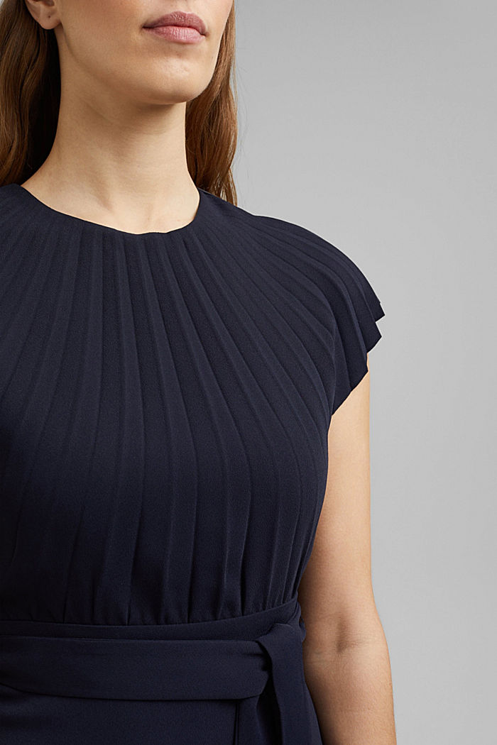 Crêpe dress with a pleated top, NAVY, detail image number 3