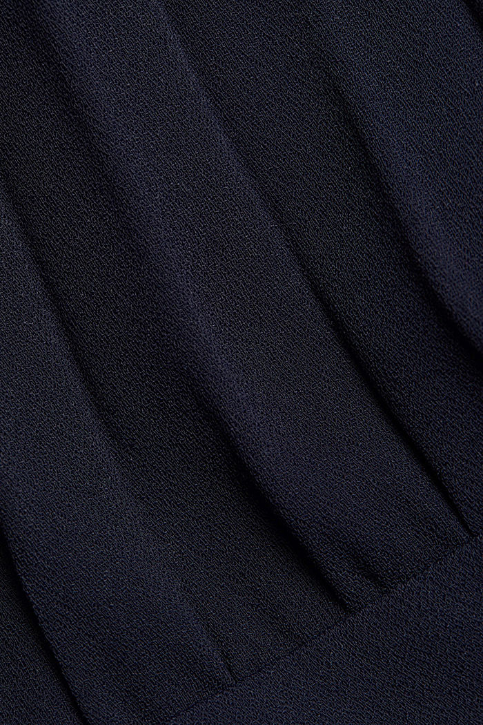 Crêpe dress with a pleated top, NAVY, detail image number 4