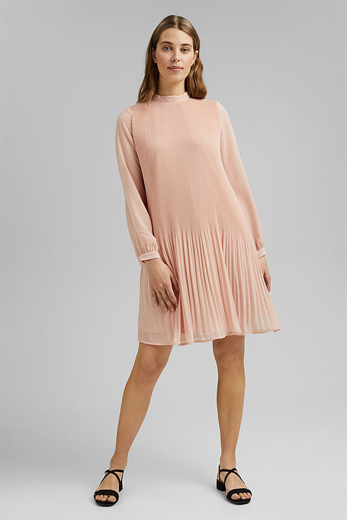 Recycled: pleated dress made of crêpe chiffon, NUDE, detail image number 1