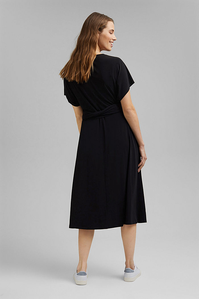 Recycelt: Midi-Jersey-Kleid mit Bindebändern, BLACK, detail image number 2
