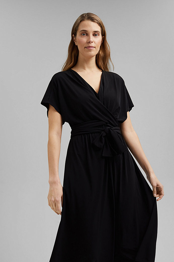 Recycelt: Midi-Jersey-Kleid mit Bindebändern, BLACK, detail image number 5