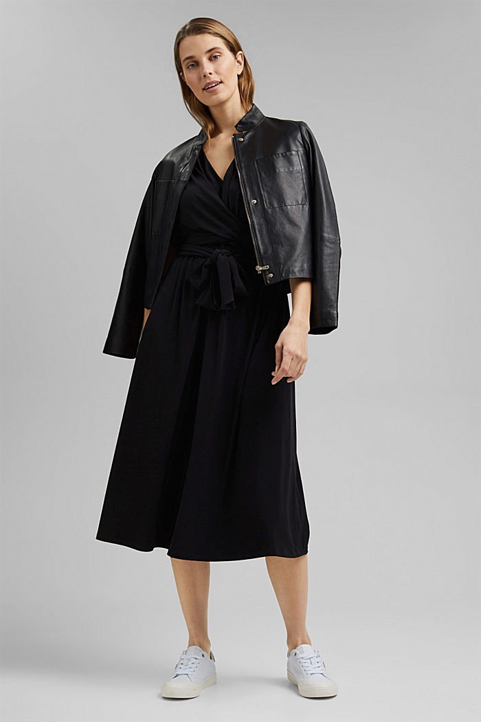 Recycelt: Midi-Jersey-Kleid mit Bindebändern, BLACK, detail image number 1