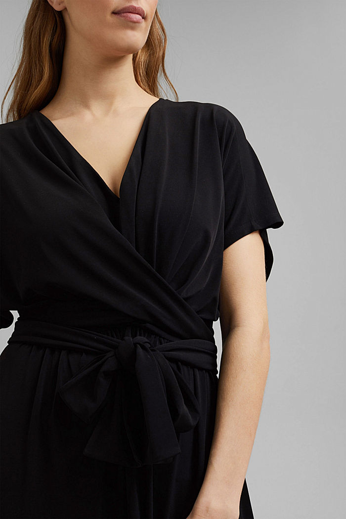 Recycelt: Midi-Jersey-Kleid mit Bindebändern, BLACK, detail image number 3