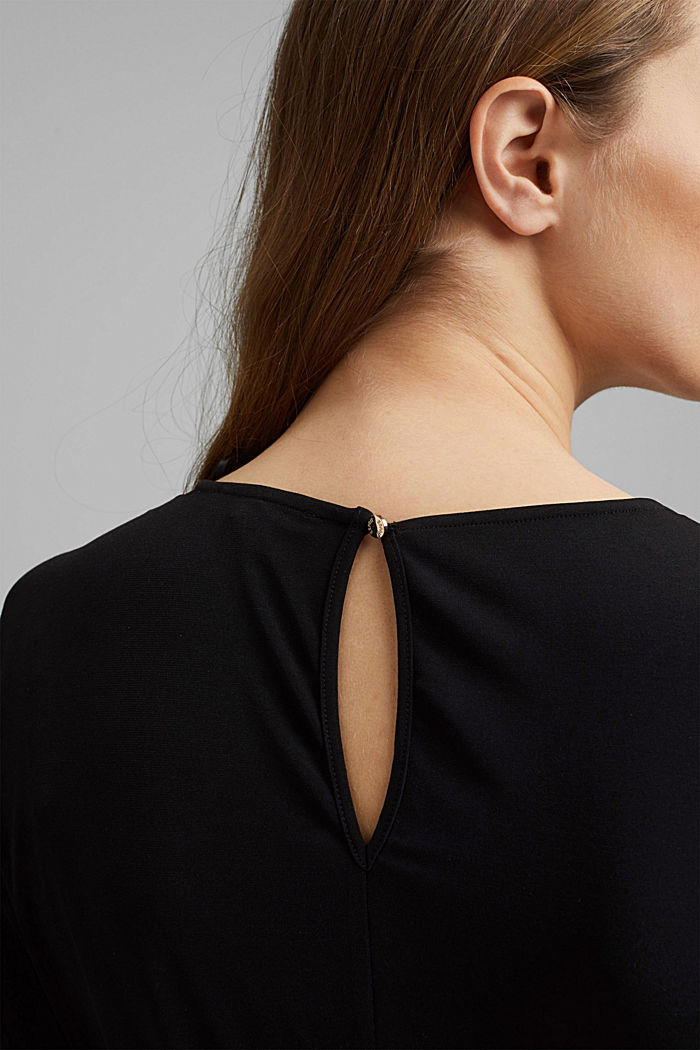 Recycelt: Midi-Jersey-Kleid mit Bindebändern, BLACK, detail image number 6