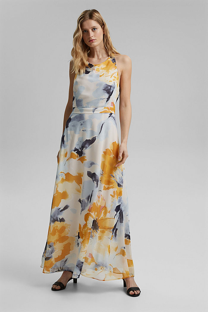 Recycled: chiffon maxi dress with floral print, NEW OFF WHITE, detail image number 1