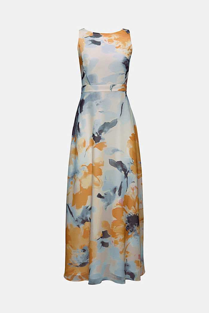 Recycelt: Chiffon-Maxikleid mit Blumen-Print, NEW OFF WHITE, overview