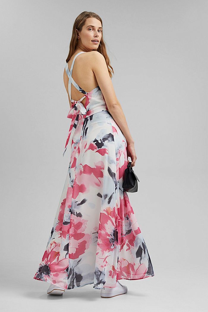 Recycled: chiffon maxi dress with floral print, OFF WHITE, detail image number 2