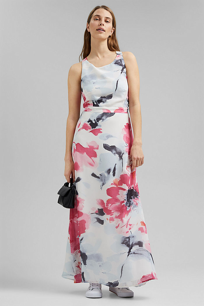 Recycled: chiffon maxi dress with floral print, OFF WHITE, detail image number 1