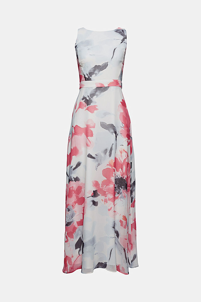 Recycled: chiffon maxi dress with floral print