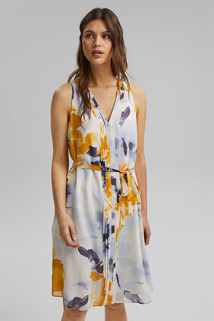 Chiffon dress with floral print, YELLOW, detail image number 0