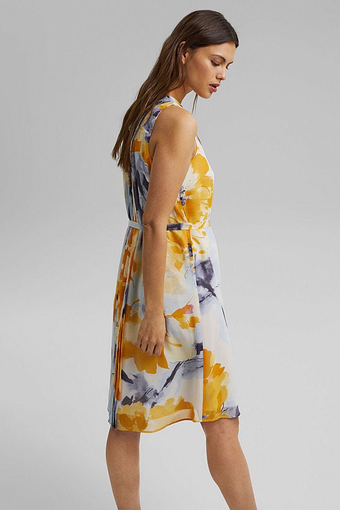 Chiffon-Kleid mit Blumen-Print, YELLOW, detail image number 2