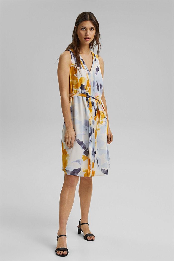 Chiffon-Kleid mit Blumen-Print, YELLOW, detail image number 1