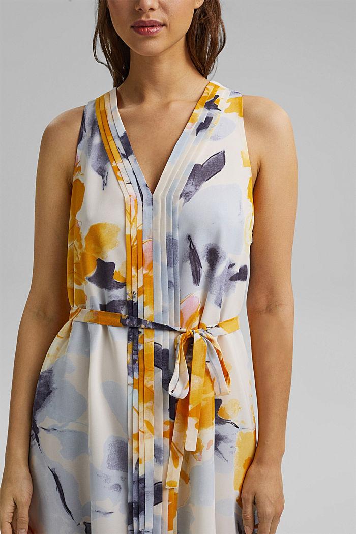 Chiffon-Kleid mit Blumen-Print, YELLOW, detail image number 3
