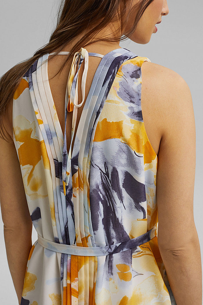 Chiffon dress with floral print, YELLOW, detail image number 6