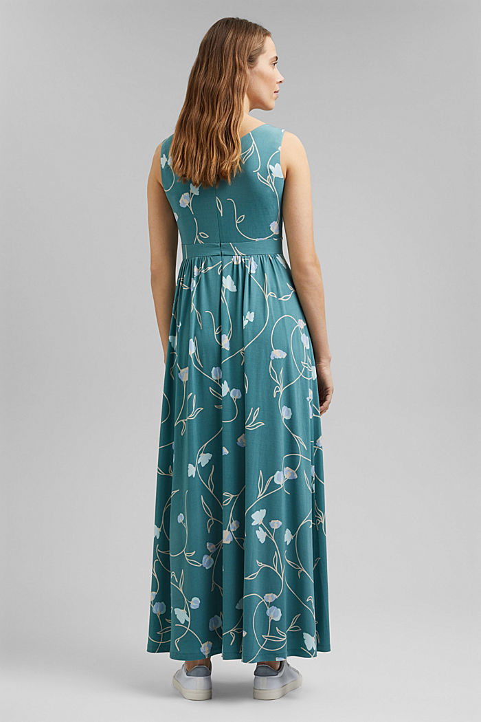 Recycled: maxi dress in floral jersey, DARK TURQUOISE, detail image number 2