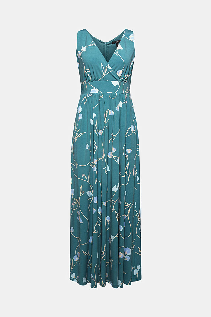 Recycled: maxi dress in floral jersey, DARK TURQUOISE, overview