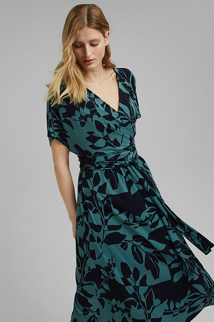 Recycled: jersey dress with botanical print