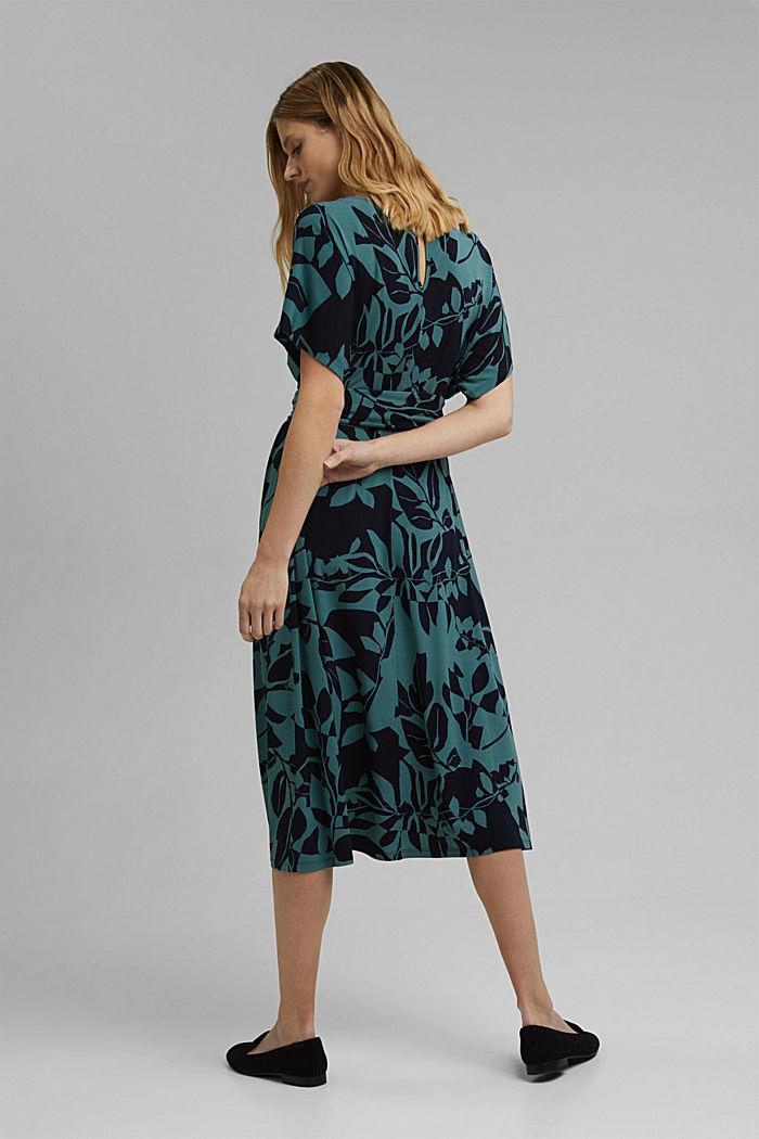 Recycelt: Jersey-Kleid mit Botanik-Print, NAVY, detail image number 2