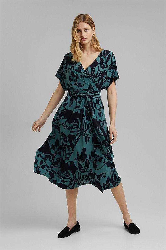 Recycelt: Jersey-Kleid mit Botanik-Print, NAVY, detail image number 5
