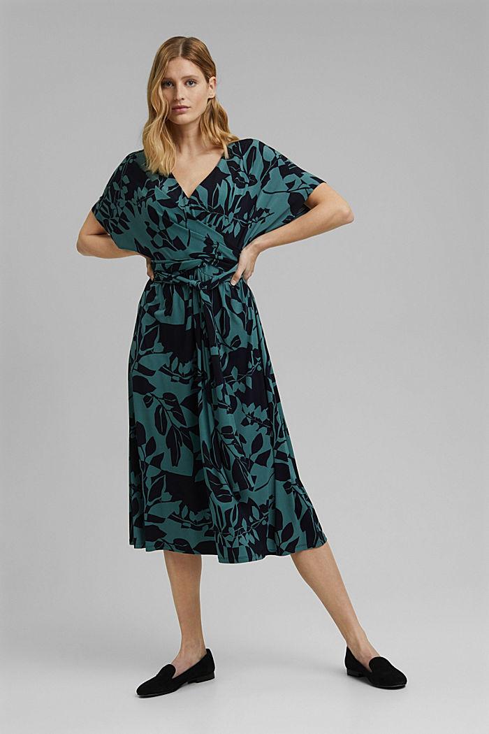 Recycelt: Jersey-Kleid mit Botanik-Print, NAVY, detail image number 1